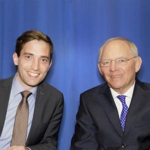 Landtagskandidat Lukas Kilian und Bundesminister Dr. Schäuble in Glinde.